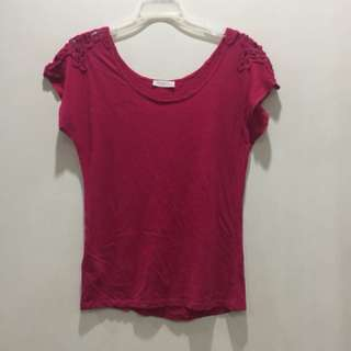 Promod red top with lace detail on shoulders