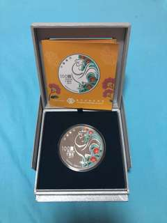 2017 Macau Rooster 5 oz 999 Fine Silver Proof Colour Coin