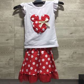 BNWT Red & White Minnie Mouse Skirt Set