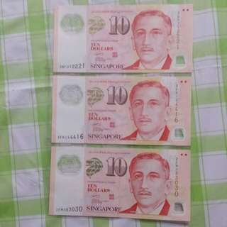 3x $10 notes serial no. 3BF312221, 3FK144416 and 2EM083030