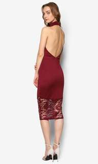 Wine red halter backless dress