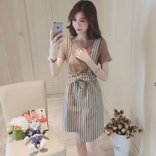 Inner Top With Stripes Ribbon Tie Suspender Overall Dress Set