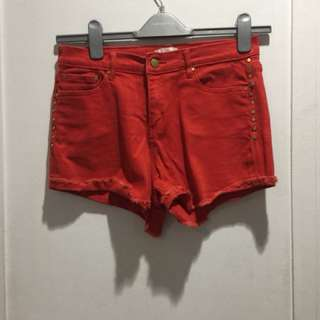 Forever21 red studded shorts