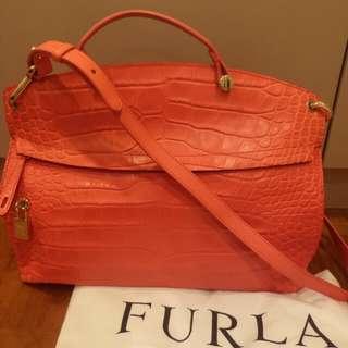 27567ec1f8b Furla Handbag Bag Crocodile imprint leather sling