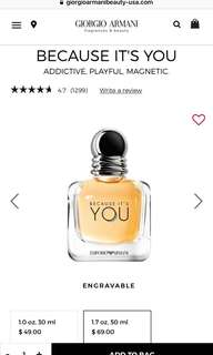 Emporio Armani Because Its You Perfume EDP 100 ML