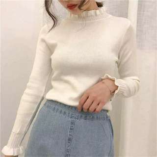 韓版秋冬純色花邊領泡泡袖上衣2色入