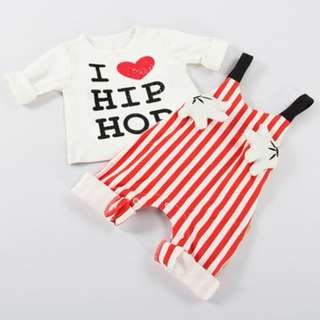 I Love Hip Hop Cute Baby Long-sleeve T-shirt and Stripped Jumpsuit Set