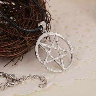 Satan Symbol Necklace Pendant Round Star
