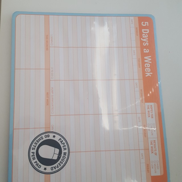 5 days a week organizer/paper mouse pad