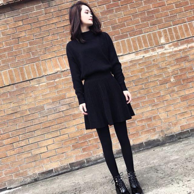 黑色超顯瘦百搭上衣毛裙兩件式套裝