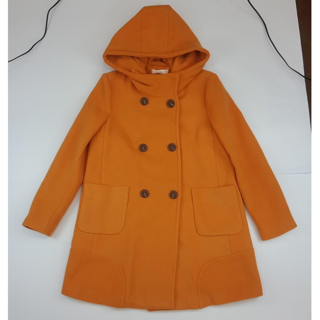 物超所值連帽橘色毛料外套