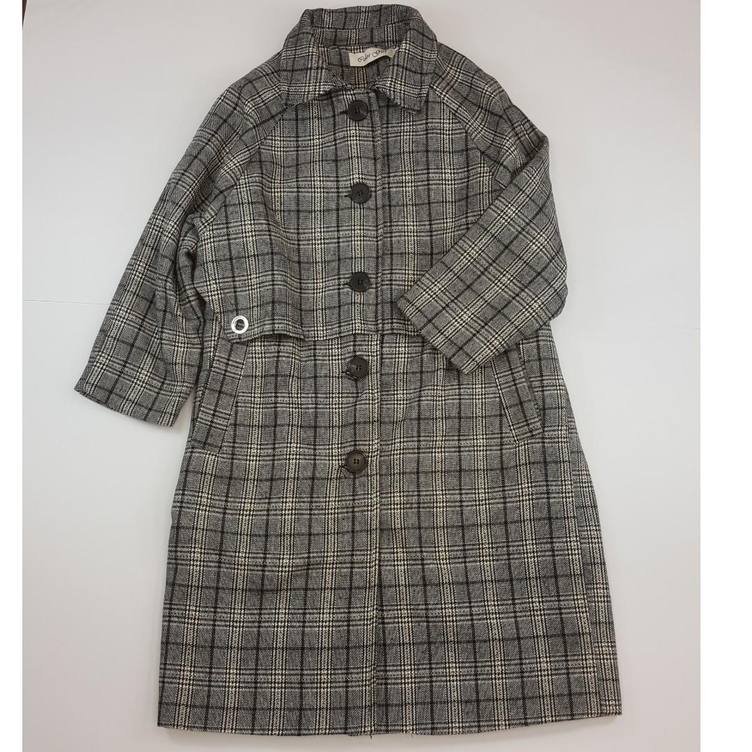 【物超所值】港風灰格紋外套