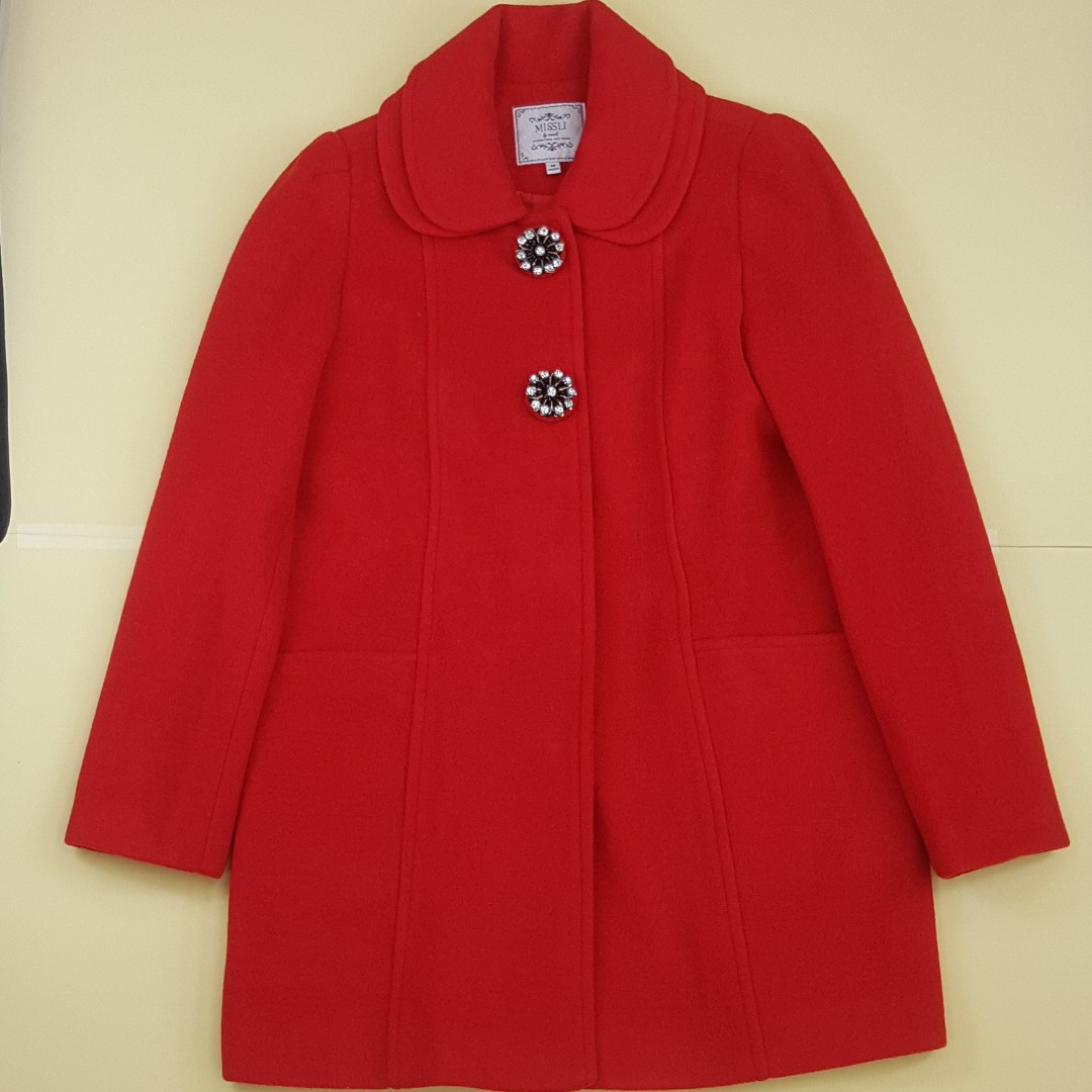 【物超所值】高檔釘珠釦毛料大紅色外套