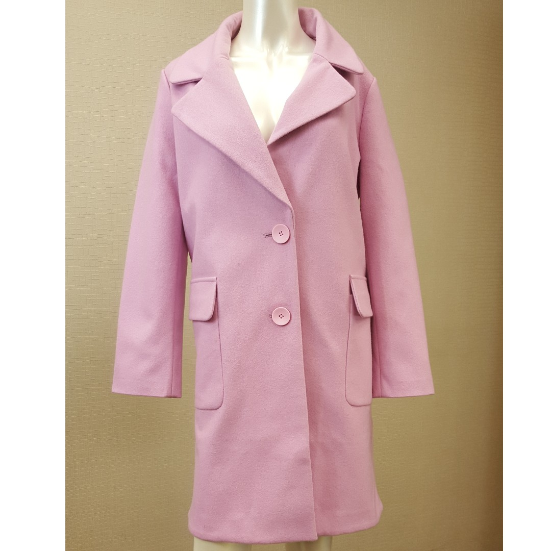 【物超所值】粉紅色毛料外套