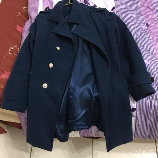 藍色毛呢傘型大衣(附綁帶