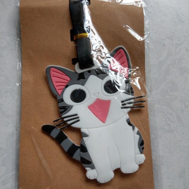 全新。貓咪造型行李箱吊牌~