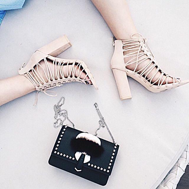 歐美時尚麂皮交叉綁帶羅馬粗跟鞋 #幫你省運費