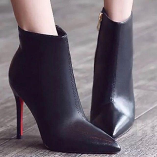 歐美簡約風 類真牛皮尖頭根鞋
