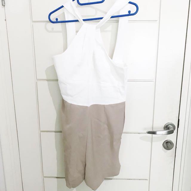💕 Mocha & White Jumpsuit