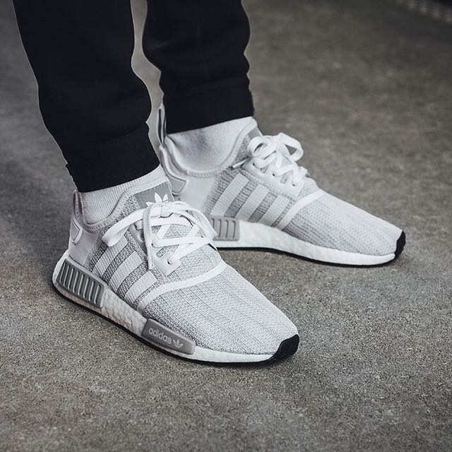 low priced 24307 50529 Adidas NMD R1 White Grey, Men's Fashion, Footwear on Carousell