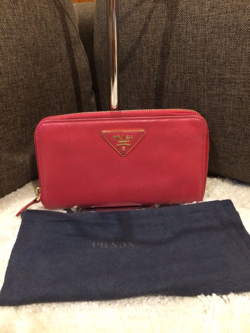 Authentic Prada Saffiano leather long wallet with dustbag