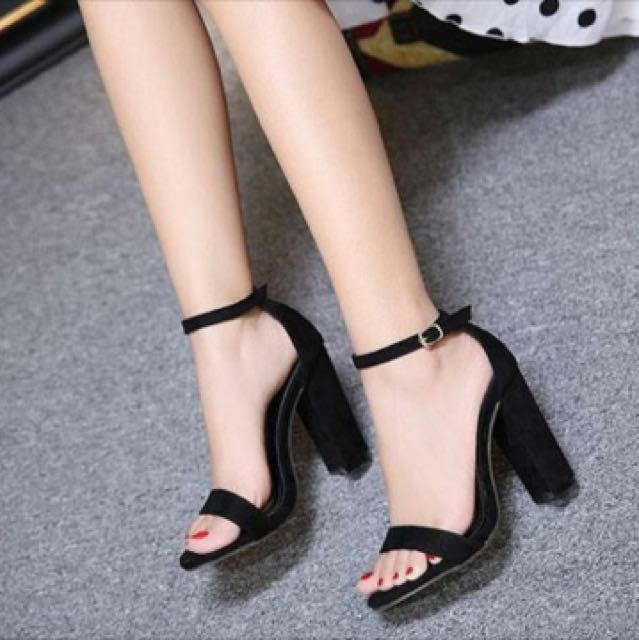 07a4efaafc1 Black ankle strap open toe chunky heels sandals Pre order