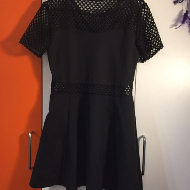 🦄black Little Net Dress