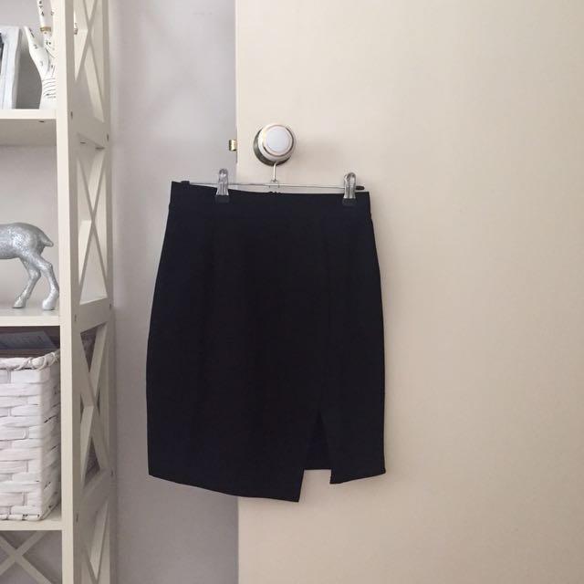 Black Skirt with Side Slit