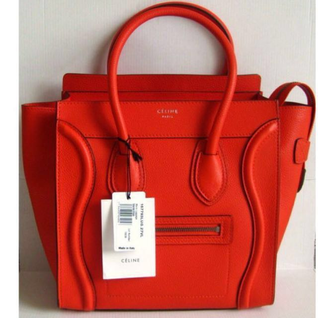 193a4eea49764 Celine Micro Luggage Bag in Vermillion