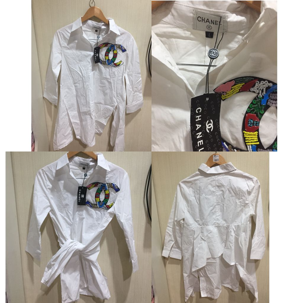 Chanel Look alike Asymetris White T-Shirt new with tag