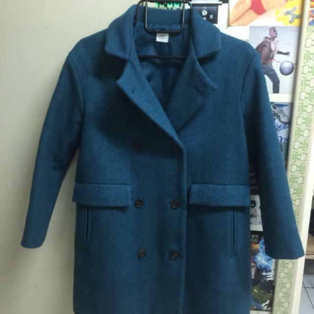 cherrykoko 韓國土耳其藍色復古毛料外套