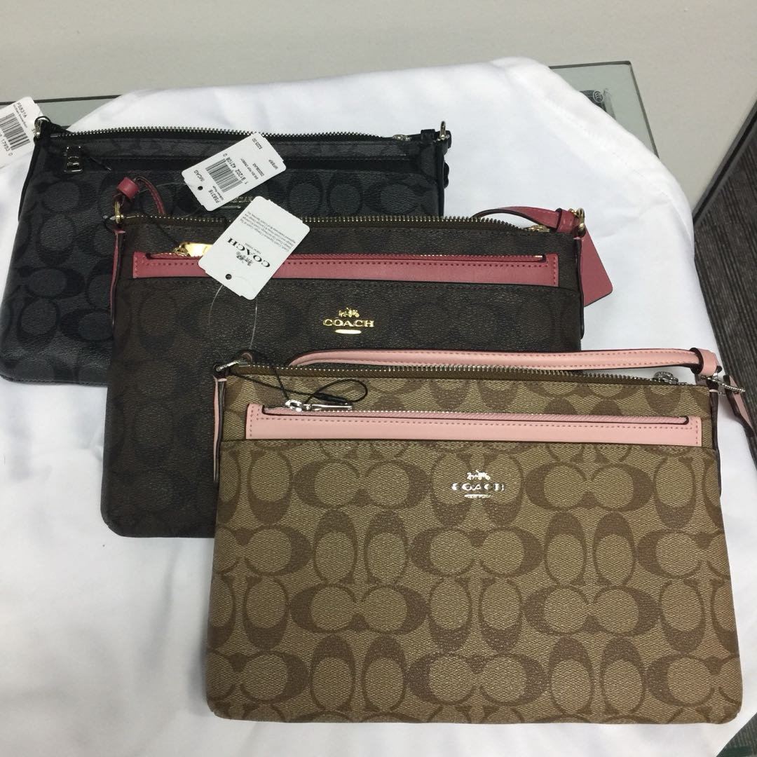 Coach EW Crossbody in Signature with Pop up Pouch