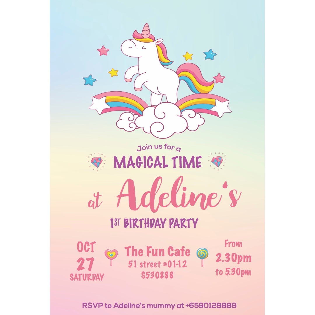 Customisable Unicorn Birthday Invitation Card Design Craft