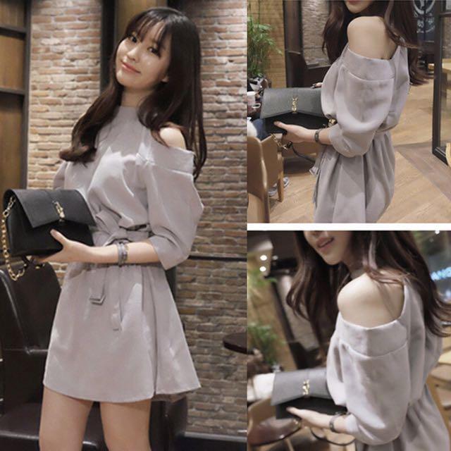 ad61ea8d869 Cut out off shoulder sleeves trenchcoat tie ribbon dress office smart casual  wear women ladies woman lady kpop Korean wave jpop trendy