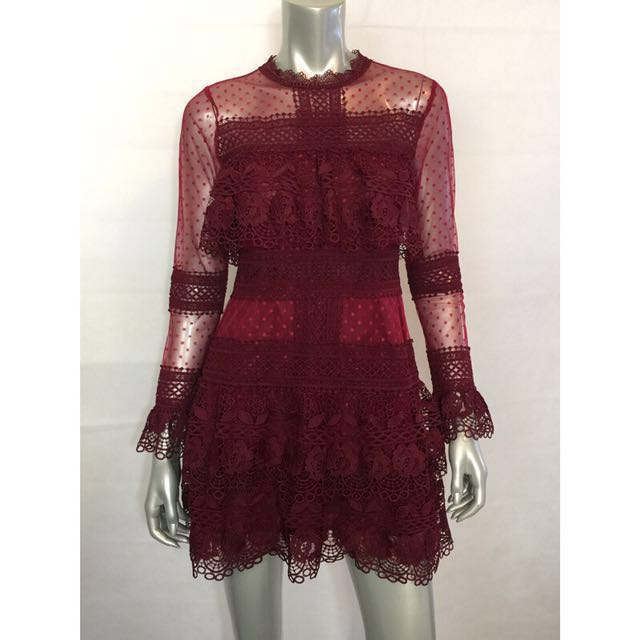 Deep Red Spot Sheer Mesh Lace Mini Dress/Self Portrait