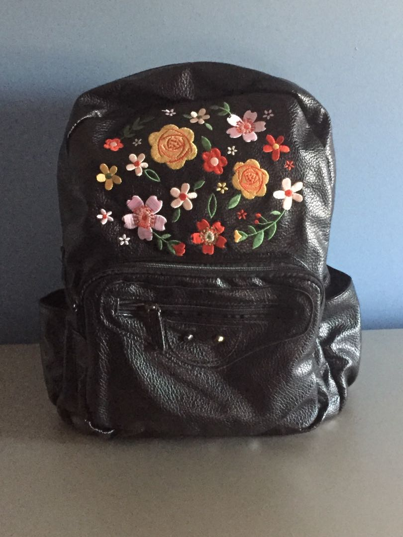 Faux Leather Embroidered Backpack