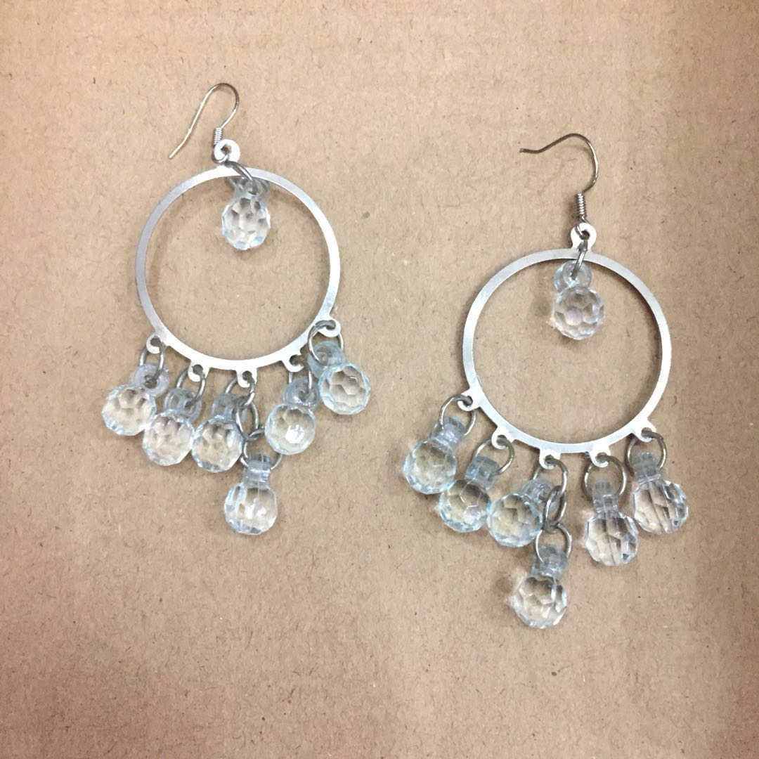 Flowery Translucent Sky Blue Crystal Earrings