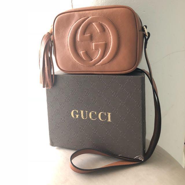 Gucci Soho Brown Camel Leather Disco Shoulder Bag
