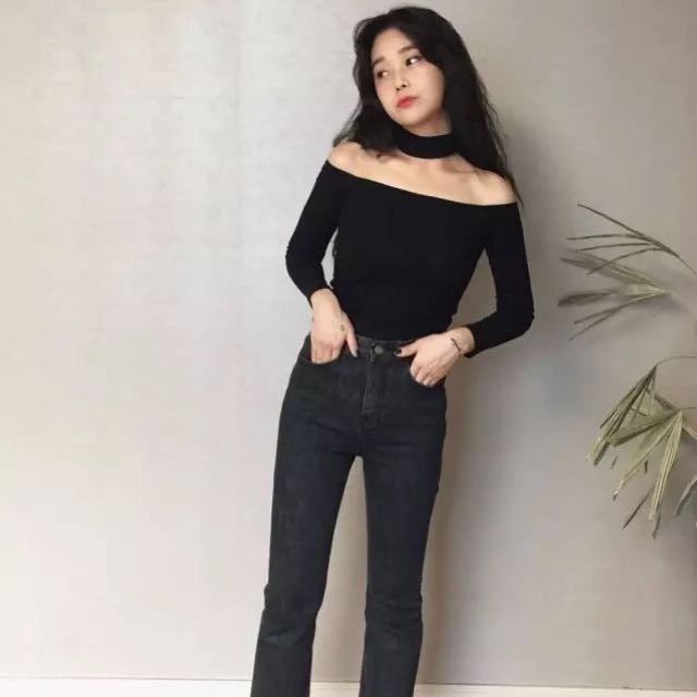 3d1c51600f792 INSTOCK Off Shoulder Choker Black TOP w  Long Sleeve