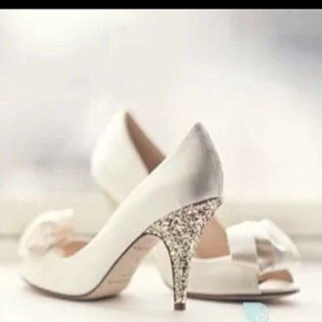 e0e7ec34d4d0 Kate Spade White Ivory Satin Gold Glitter Peep Toe Heels Shoes ...