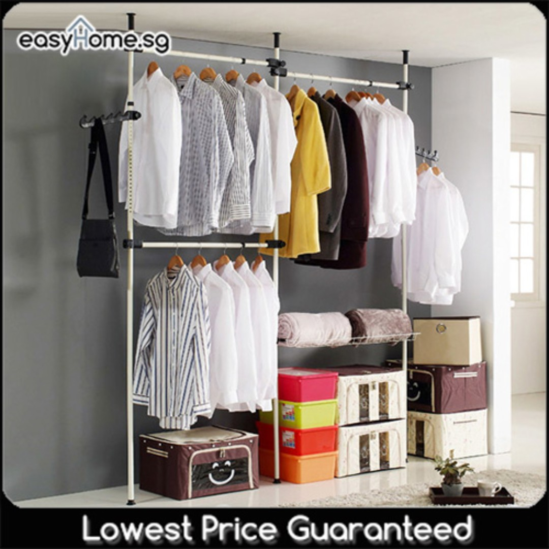 hanging single rack shelf available clothes double hanger organizer shopee wardrobe drying i singapore