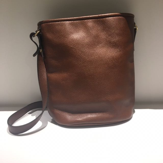 Leather bucket bag purse satchel