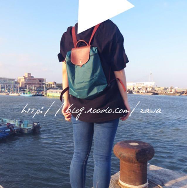 Longchamp 孔雀綠 後背包
