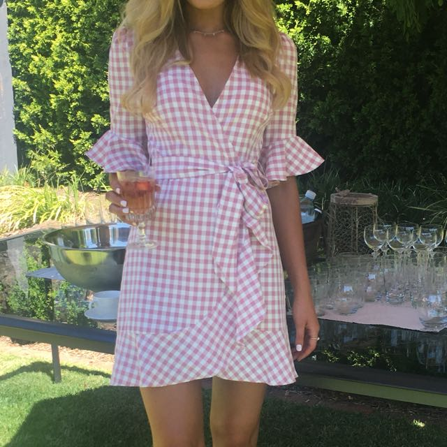 Madison square pink and white gingham dress