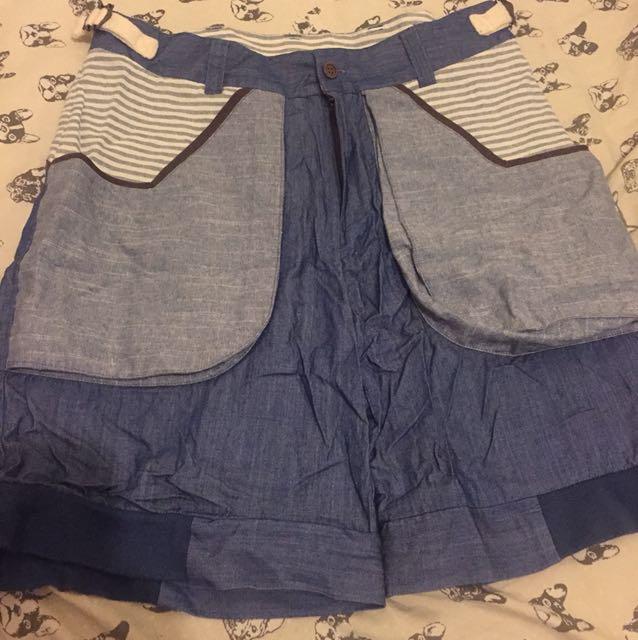 MISCHIEF 黃鴻升 小鬼 著用款 藍色丹寧短褲 尺寸:M