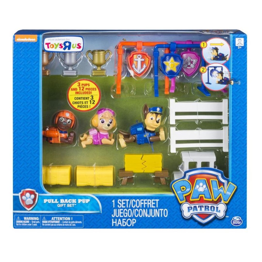 Nickelodeon Paw Patrol Pull Back Pup Set - Chase, Skye and