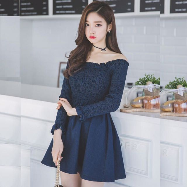 Image of: Korean Girl Off Shoulder Dress Blue Plain Kpop Korean Jpop Trendy Sweet Cute Office Formal Casual Work Smart Woman Women Ladies Female Girls Womens Fashion Sandi Pointe Virtual Library Of Collections Off Shoulder Dress Blue Plain Kpop Korean Jpop Trendy Sweet Cute