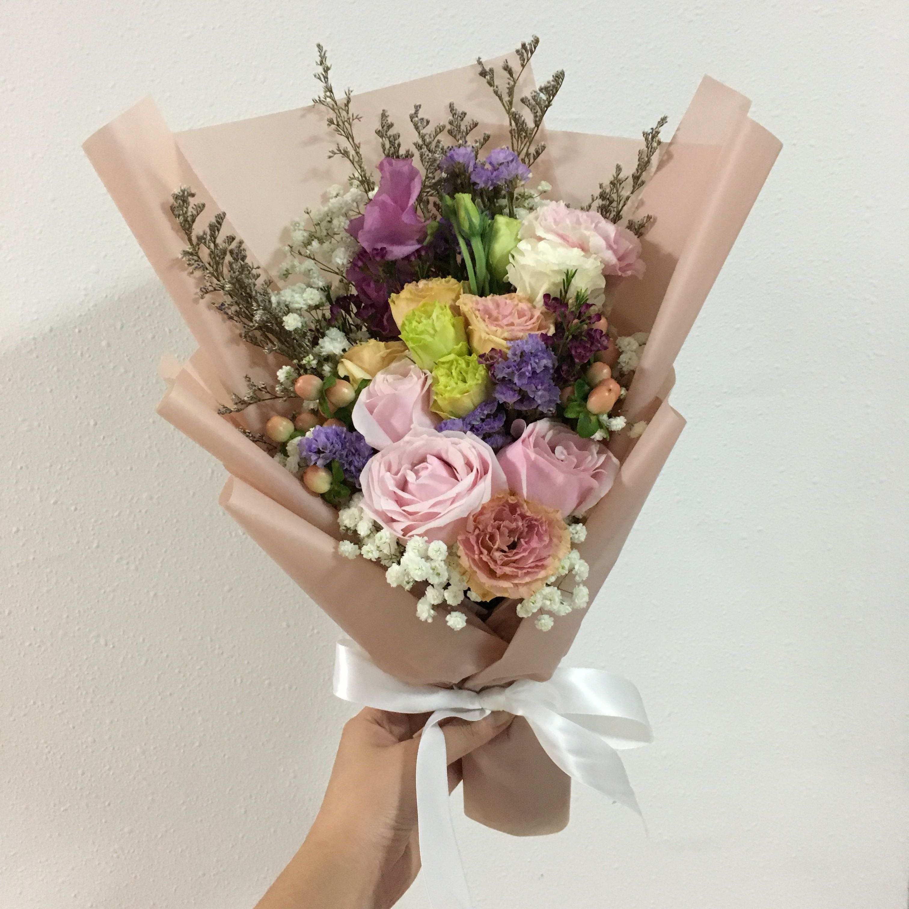 Pastel bouquet of mix fillers and roses birthday bouquet photo photo photo izmirmasajfo