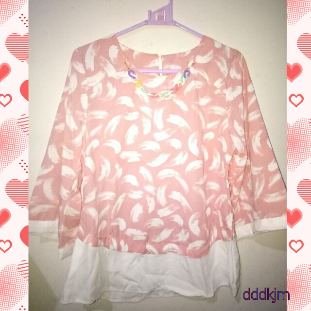 Pastel pink feather blouse 🌸