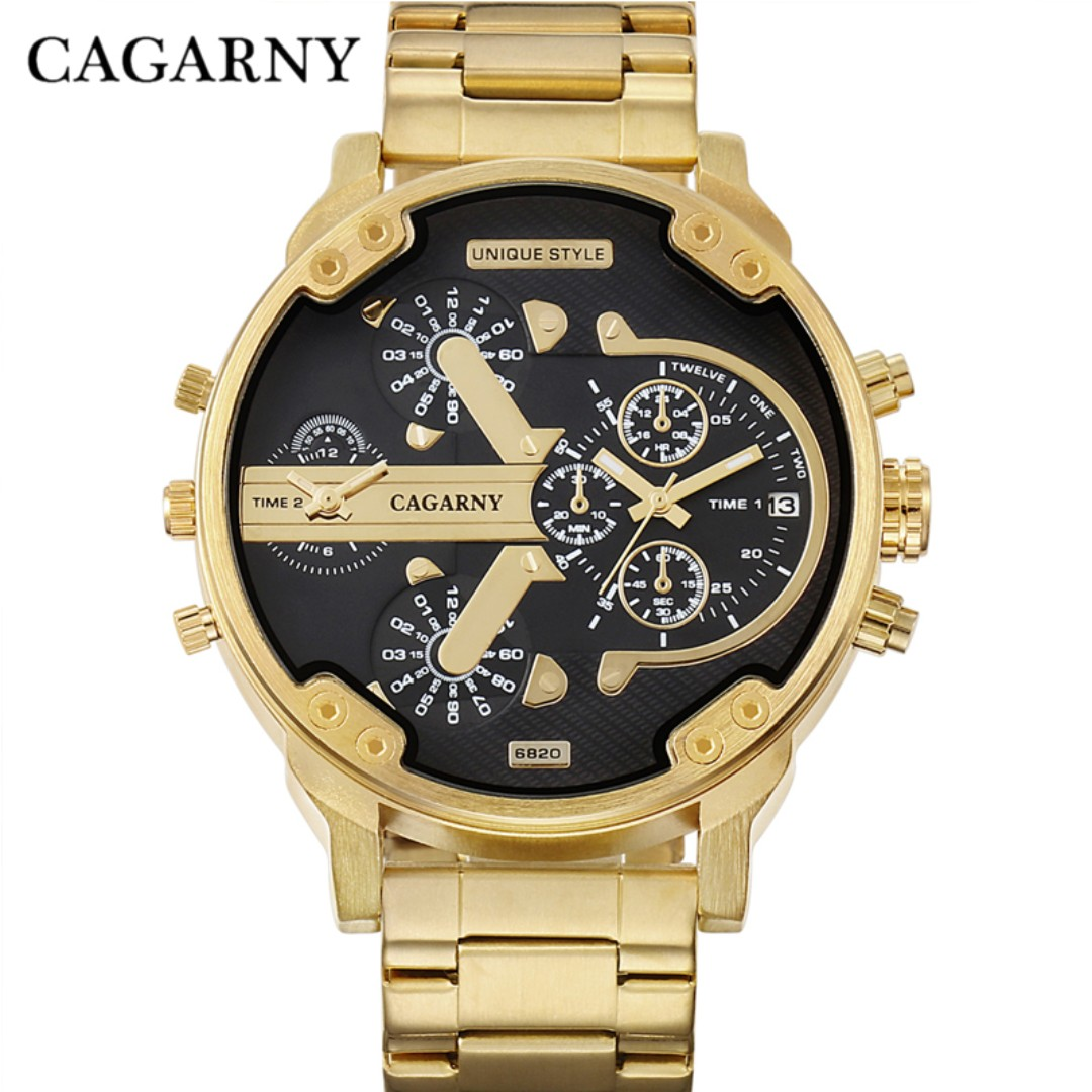PREORDER! High quality Cagarny Men's Watches Men Fashion Quartz Wristwatches Cool Big Case Golden Steel Watchband Military Relogio Masculino D6820 Hour gold black white